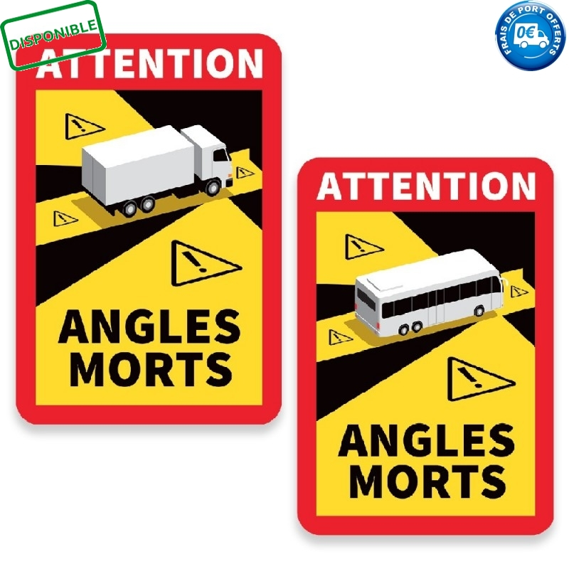 LOT DE 3 AUTOCOLLANTS ANGLES MORTS