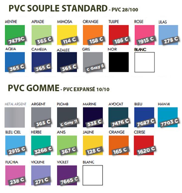 Nuancier coloris PVC Gomme et standard - Le Calendrier Pub