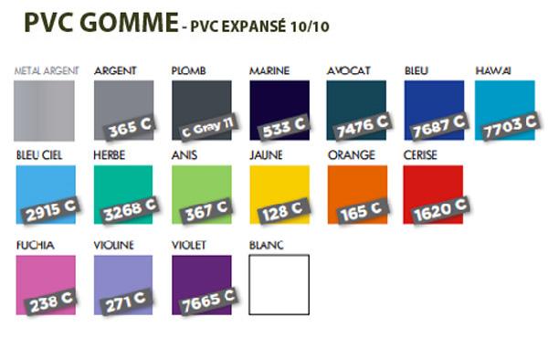 Nuancier coloris PVC Gomme - Le Calendrier Pub