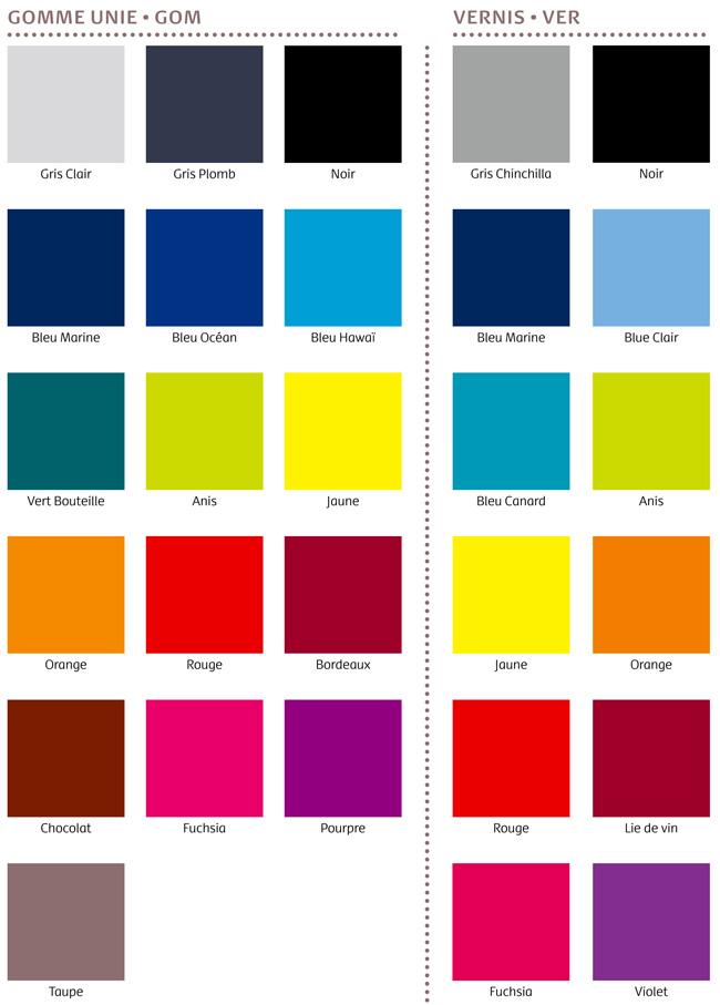 Nuancier matière et coloris PVC souple - Le Calendrier Pub