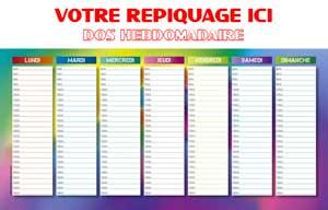 Dos Planning Hebdomadaire - Le Calendrier Pub