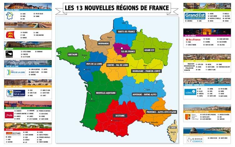 Nouvelles régions de France - Dos Maxi Bancaire - Le Calendrier Pub